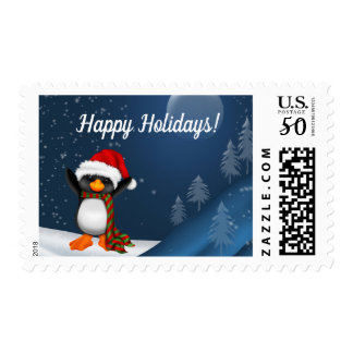 Cute Penquin on Snow Slope Postage