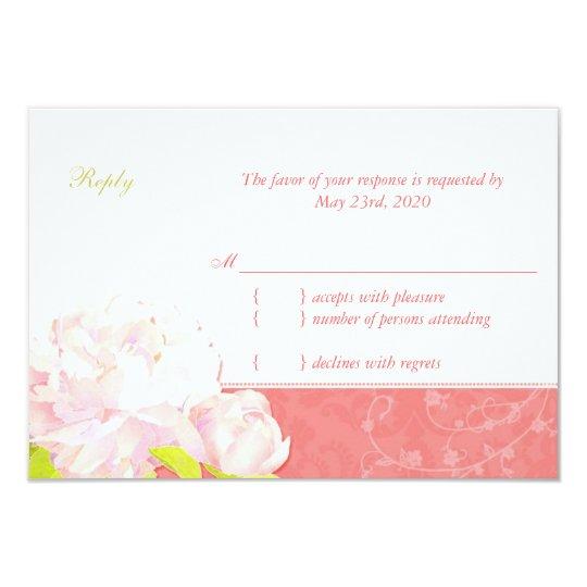 Cute Peony Spring Wedding RSVP Card
