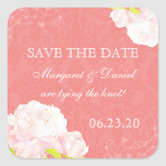 Cute Peony Theme Coral Reef Save the Date Stickers