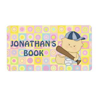 Cute personalised baseball kid book plate label