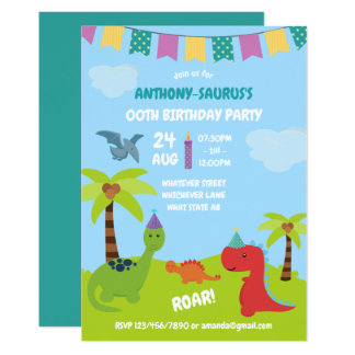 Cute Personalised Dinosaur themed Party Card