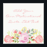 """Cute personalised floral canvas print<br><div class=""""desc"""">Romantic floral canvas. Add text and create your own motivational and inspirational canvas</div>"""