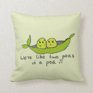 Cute personalised two peas in a pod throw pillow