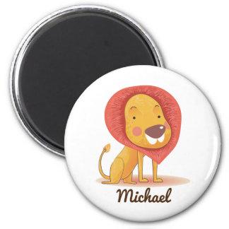 Cute Personalizable YELLOW ORANGE Lion Magnet