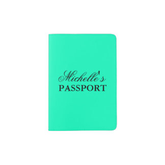 Cute personalized aquamarine blue passport holder