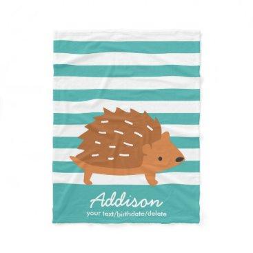 Beach Themed Cute Personalized Baby Hedgehog Animal Striped Fleece Blanket