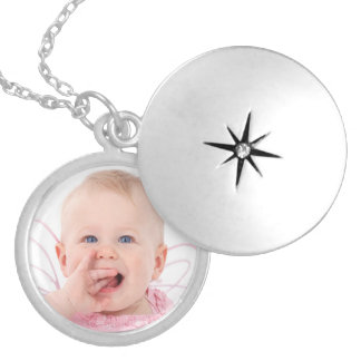 Cute personalized baby photo round locket necklace