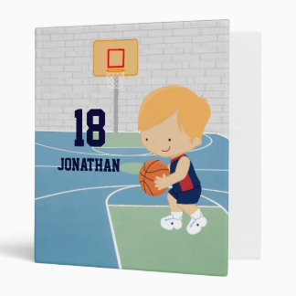 Cute Personalized Basketball Player blonde navy 3 Ring Binder