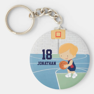 Cute Personalized Basketball Player blonde navy Basic Round Button Keychain