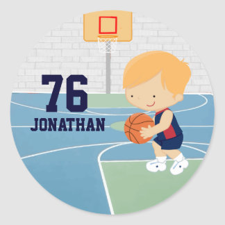 Cute Personalized Basketball Player blonde navy Classic Round Sticker