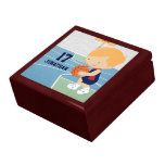 Cute Personalized Basketball Player blonde navy Trinket Boxes
