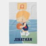 Cute Personalized Basketball Player blonde navy Hand Towels