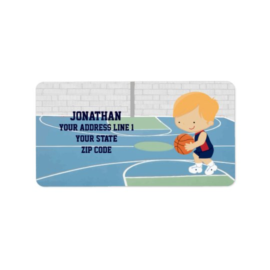 Cute Personalized Basketball Player blonde navy Label