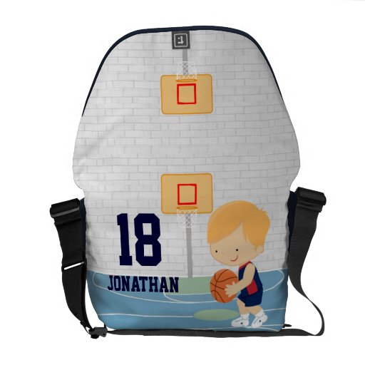 Cute Personalized Basketball Player blonde navy Messenger Bag