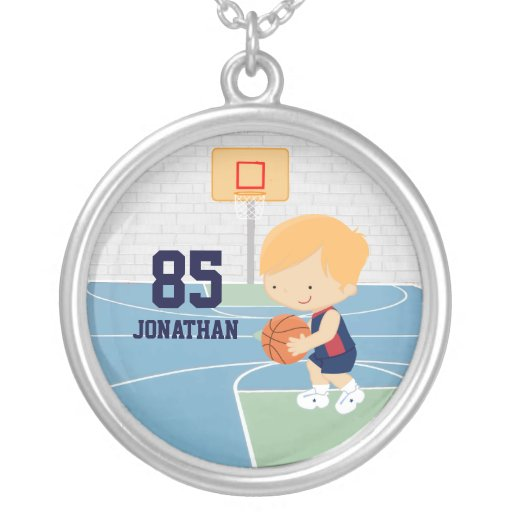 Cute Personalized Basketball Player blonde navy Personalized Necklace