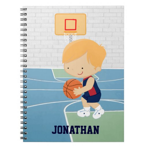 Cute Personalized Basketball Player blonde navy Spiral Note Books
