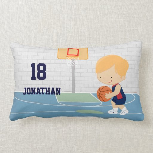 Cute Personalized Basketball Player blonde navy Pillow