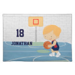Cute Personalized Basketball Player blonde navy Place Mat