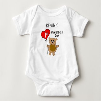 Cute Personalized Bear 1st Valentine's Day Baby Bodysuit