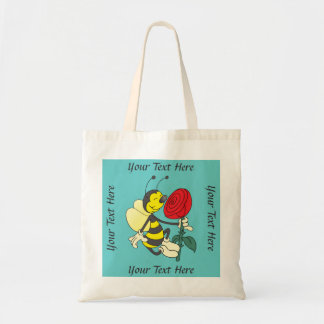 Cute Personalized Bee and Rose Tote Bag