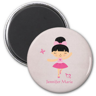 Cute personalized black hair ballerina magnet