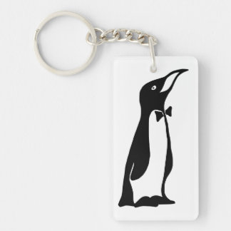 Cute Personalized Black White Penguin Keychain