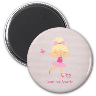 Cute personalized blonde hair ballerina magnet