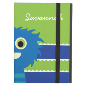Cute Personalized Blue Lime Green Monster Case iPad Folio Cases