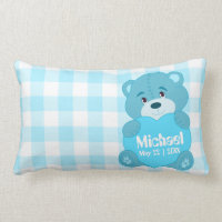 Cute personalized blue teddy bear monogram lumbar pillow