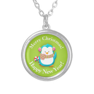 Cute Personalized Blue White Christmas Penguin Silver Plated Necklace