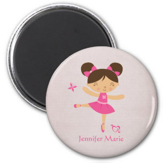 Cute personalized brown hair ballerina magnet