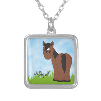 Cute Personalized Brown Horse with Heart Star Silver Plated Necklace