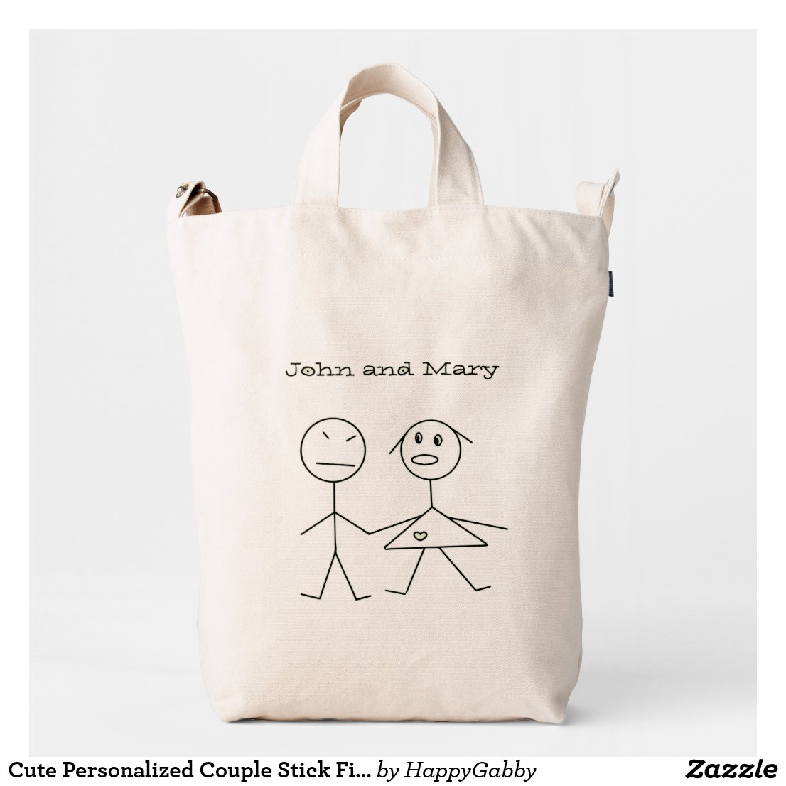 Fun Personalized Couple Stick Figure Duck Bag