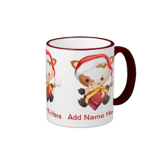 Cute Personalized Cow in Santa hat Xmas mugs