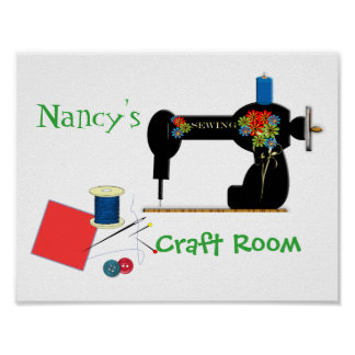 Cute Personalized Craft Room Sign Poster