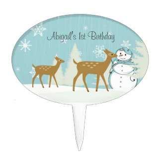 Cute Personalized Deer and Snowman 1st Birthday Cake Topper