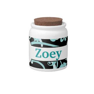 Cute Personalized Dog Treat Jars Blue Black Swirls Candy Jars