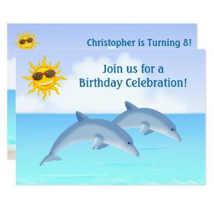 Dolphin birthday invitations zazzle cute personalized dolphins beach birthday invite filmwisefo