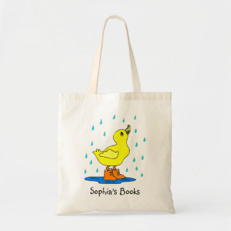 Cute Personalized Duck in Rainboots Book Tote