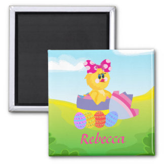 Cute Personalized Easter chic 2 Inch Square Magnet