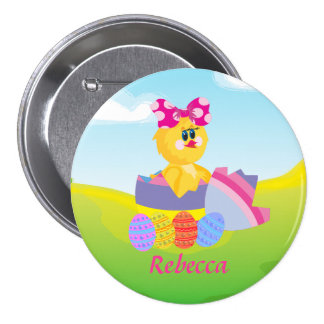 Cute Personalized Easter chic 3 Inch Round Button