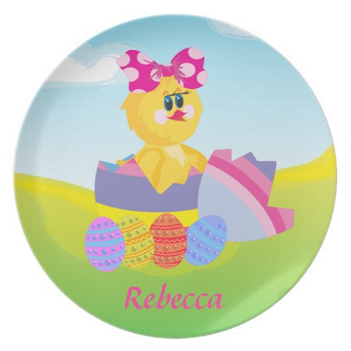 Cute Personalized Easter chic Plate