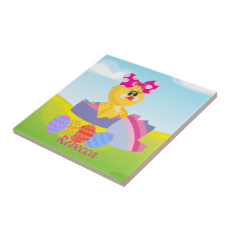 Cute Personalized Easter chic Small Square Tile