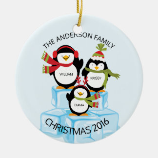 Cute Personalized Family Of 3 Penguins Christmas Ceramic Ornament