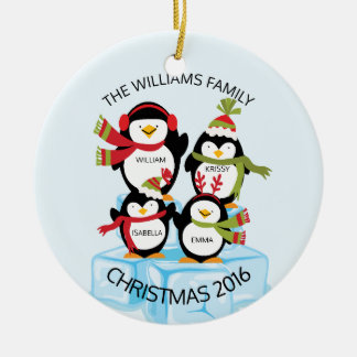 CUTE Personalized Family Of 4 Penguins Christmas Ceramic Ornament