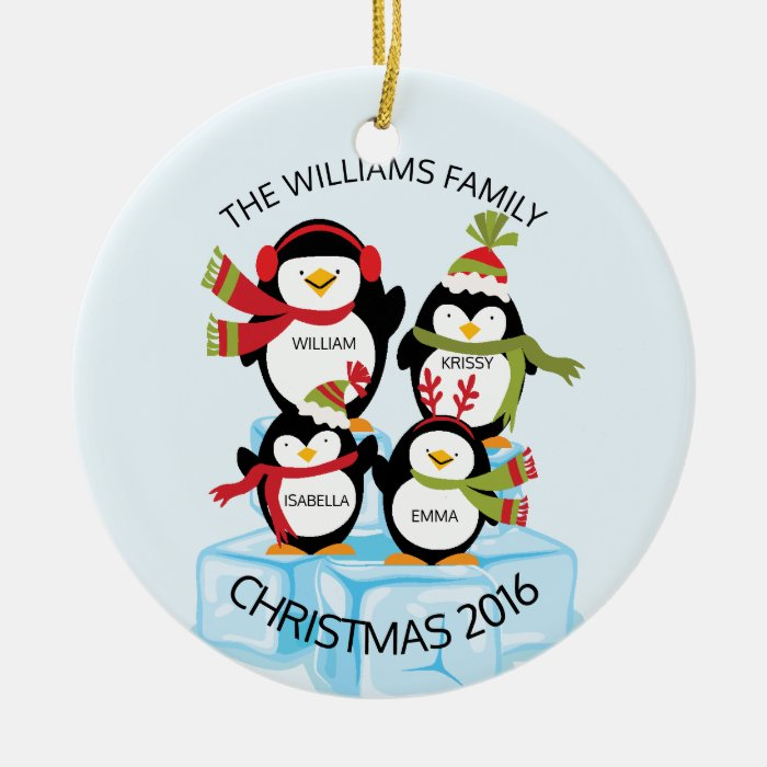 Cute personalized family of 4 penguins christmas ceramic for Family of 4 christmas ornament
