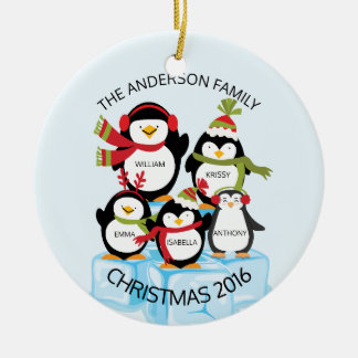 CUTE Personalized Family Of 5 Penguins Christmas Ceramic Ornament