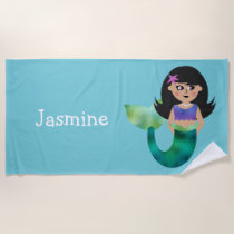 Cute Personalized Girls Latino Faux Foil Mermaid Beach Towel
