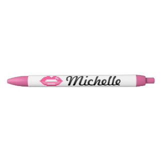 Cute personalized girls pen with pink lips kiss