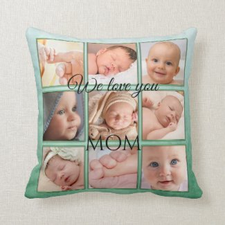 Cute Personalized Green Photo Collage Pillow